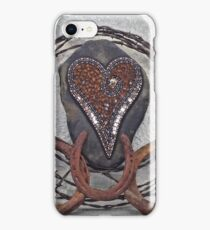 Western Barbed Wire Mosaic Heart iPhone Case/Skin