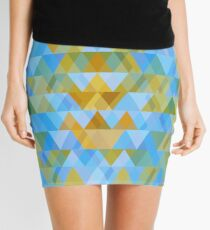 Pattern of triangles in beach tones with overlay Mini Skirt