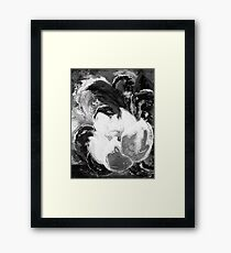 Purple Peonies in Gold with Red - Black and White Framed Print