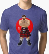 ADAM LIKES KILTS - SHIRTLESS Tri-blend T-Shirt