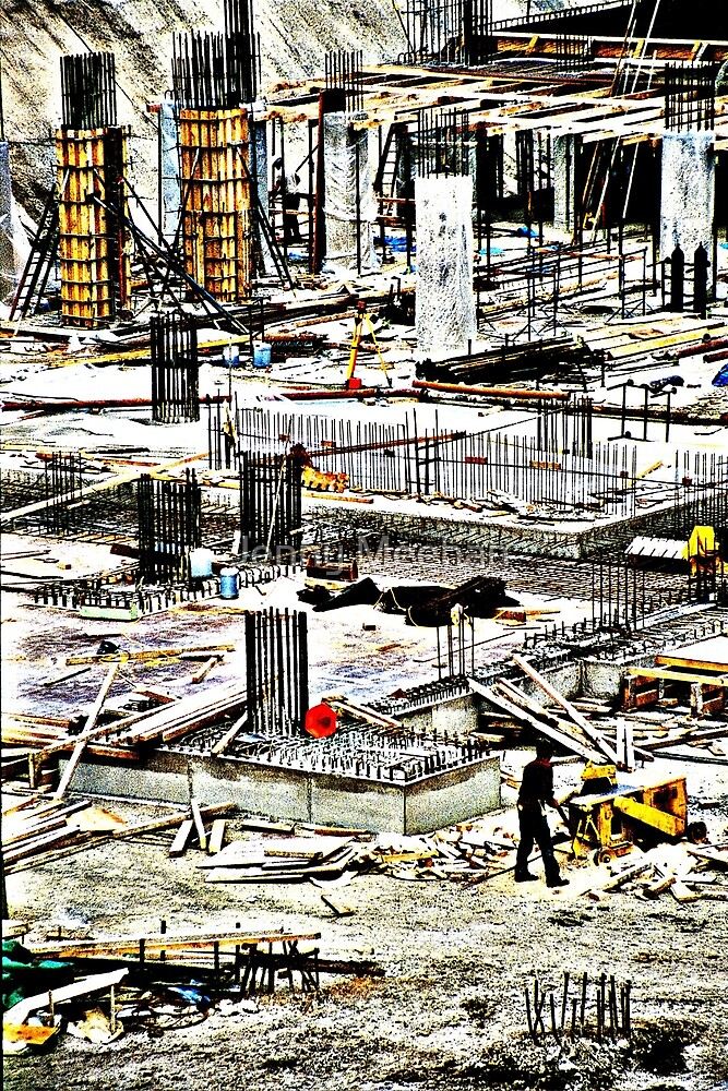 Building Foundations - John Lewis in Kingston Upon Thames by Jenny Meehan  by jenny meehan