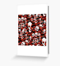 Skulls And Poppies - On Black. Greeting Card