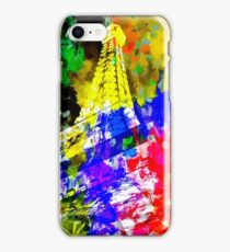 Eiffel Tower, France at night with colorful painting abstract background iPhone Case/Skin