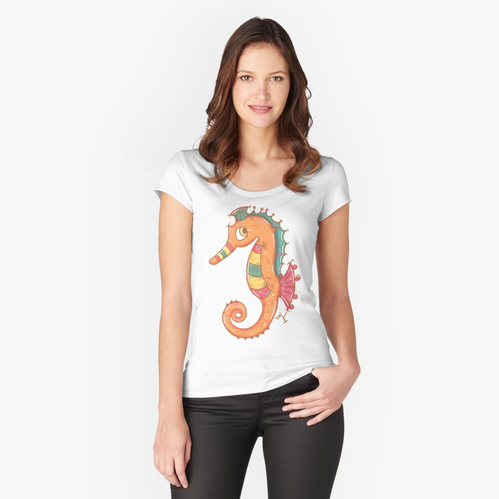 Sparkly Little Seahorse Fitted Scoop T-Shirt
