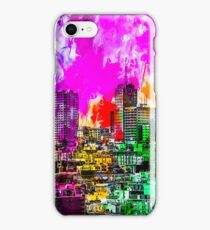 building in the city at San Francisco, USA with colorful painting abstract background iPhone Case/Skin
