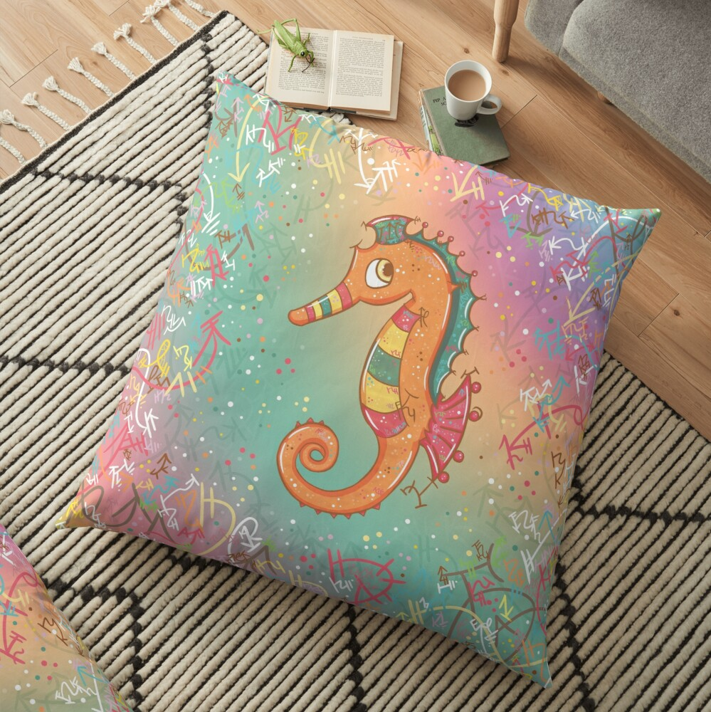 Sparkly Little Seahorse Floor Pillow
