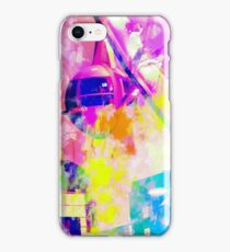 Ferris wheel and modern building at Las Vegas, USA with colorful painting abstract background iPhone Case/Skin