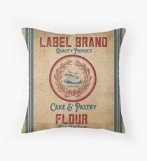 Vintage Burlap Like Flour Sack Throw Pillow