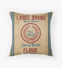 Vintage Burlap Like Flour Sack Throw Pillow