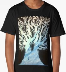 Blue Watercolor Blackout Tree Painting Long T-Shirt