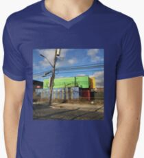 Colorful Abandoned Freights Red Hook Brooklyn Men's V-Neck T-Shirt