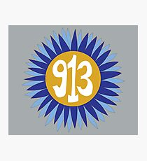 Hand Drawn Kansas Sunflower 913 Area Code Royals Photographic Print