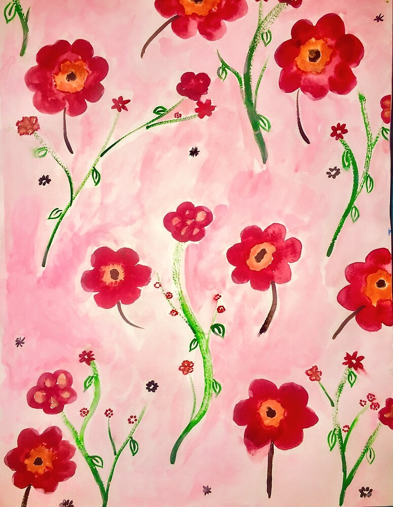 Pretty Red/Pink/Green Floral Print by lpawlowski