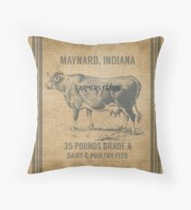 Burlap Vintage Like Dairy Feed Sack Throw Pillow