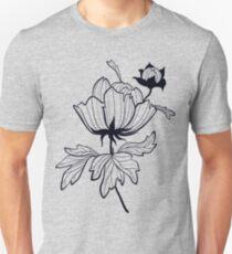 Peony flower in black T-Shirt