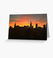 Fiery Sunset New York with Chrysler and Empire State Buildings Greeting Card
