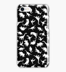 Fun Dinosaur Pattern (White on Black) iPhone Case/Skin