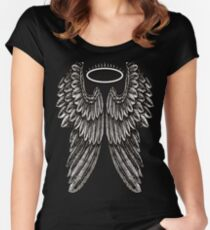Angel Wings and Halo | Black and White Women's Fitted Scoop T-Shirt