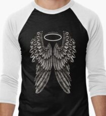 Angel Wings and Halo | Black and White Men's Baseball ¾ T-Shirt
