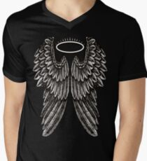 Angel Wings and Halo | Black and White Men's V-Neck T-Shirt