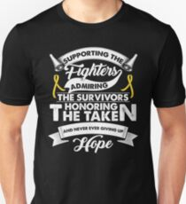 Supporting The Fighters Childhood Cancer T-Shirt Gold Ribbon T-Shirt