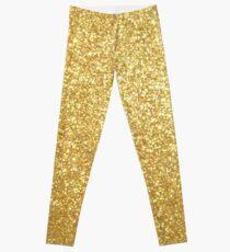Gold Glitter Sparkly Shiny Metallic Yellow  Leggings