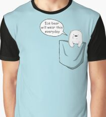 Ice Bear Will Wear This Everyday - We Bare Bears Cartoon Pocket Graphic T-Shirt