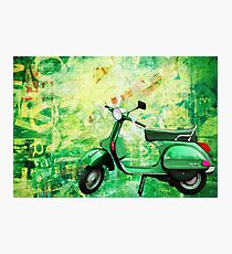 green vespa Photographic Print