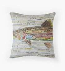 Rainbow Trout Collage by C.E. White - Fly Fishing (v2) Throw Pillow