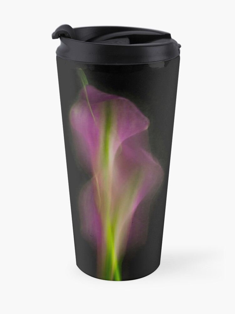 Alternate view of Abstract Purple Calla Lily on Black Background Travel Mug