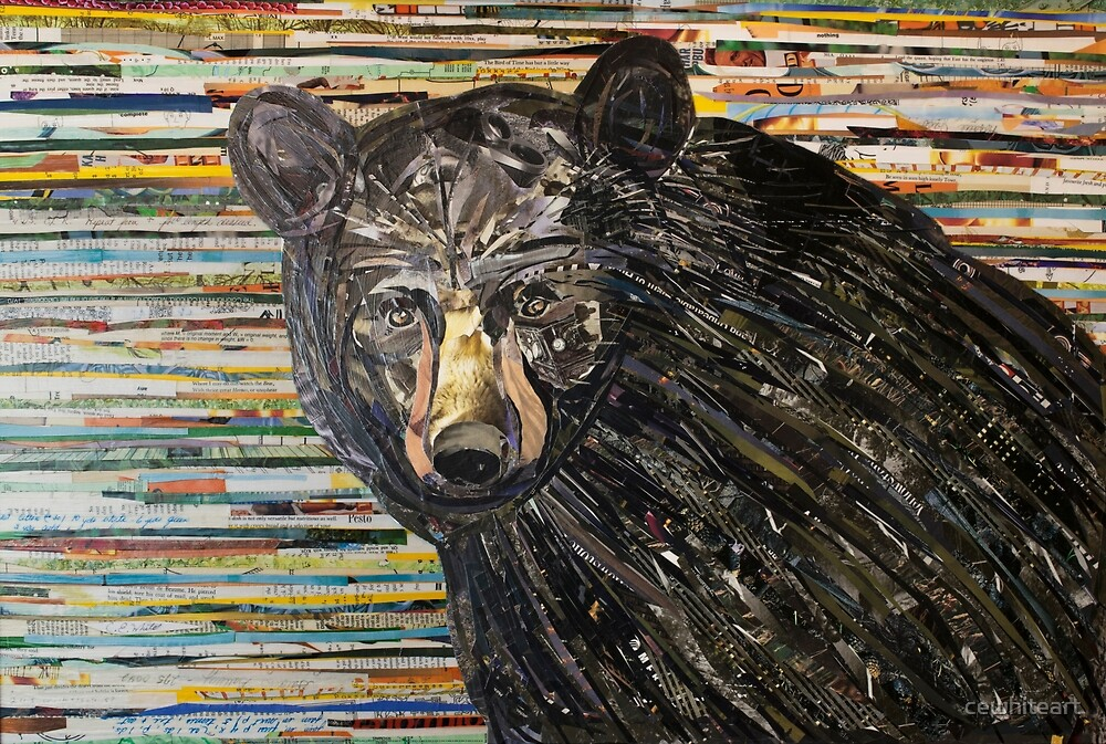 Black Bear Collage Art Unique by cewhiteart
