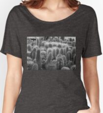 Grayscale Cacti - Low Depth-of-Field Women's Relaxed Fit T-Shirt