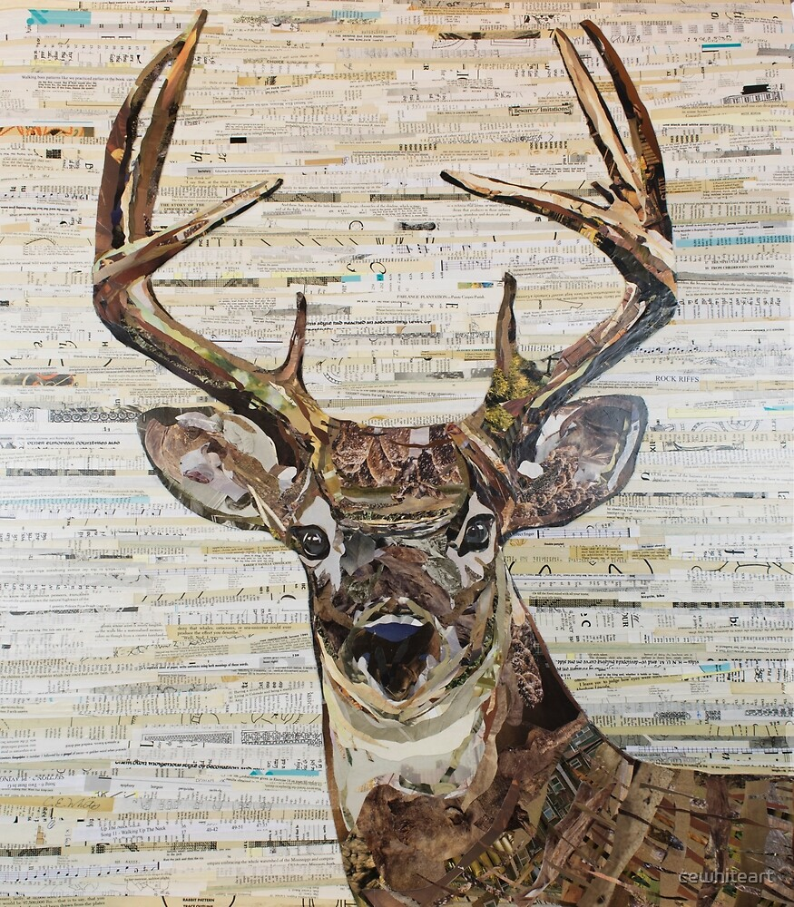 Whitetail Deer /Buck Collage by C.E. White by cewhiteart