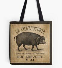Burlap French Pig Advertisement Tote Bag