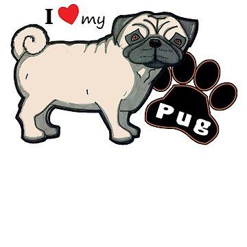 I Love My Pug by davidicon