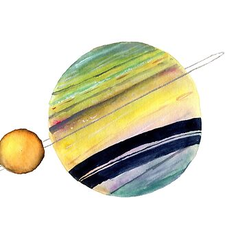 Saturn and Titan by myartjourney