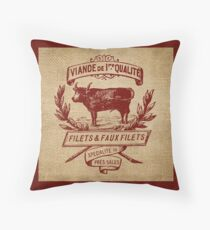 French Burlap Meat Filets Advertisement Throw Pillow