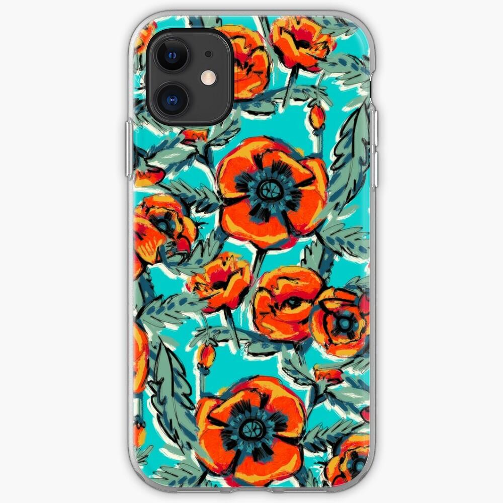Retro Poppies Orange and Aqua iPhone Soft Case