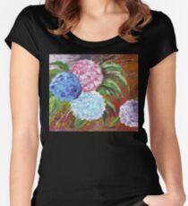 Hydrangeas in Acrylic Women's Fitted Scoop T-Shirt