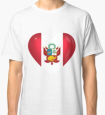 I Love Peru Flag Large Heart  Classic T-Shirt