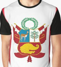 I Love Peru Flag Large Heart  Graphic T-Shirt