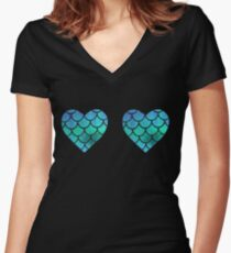 Mermaid  halographic Women's Fitted V-Neck T-Shirt