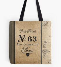 Vintage Burlap Ticker Look Paris france Tote Bag