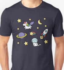 Marshmallow Bean goes on an adventure in space! T-Shirt