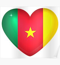 I Love Cameroon Flag Large Heart  Poster
