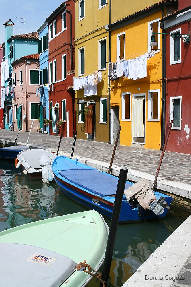 Burano Corner with Laundry by Donna Corless