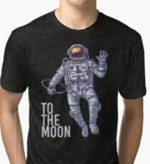 Litecoin Astronaut to the Moon -light text Tri-blend T-Shirt