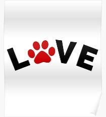 Dog Cat Paw Love Design Poster