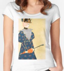 Lady with red umbrella 018 Women's Fitted Scoop T-Shirt