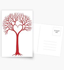 red love tree with heart branches Postcards